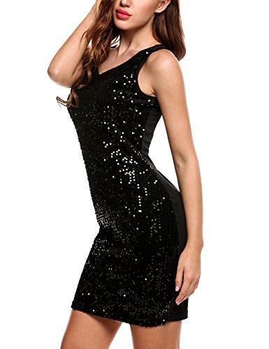 Beyove Femmes Paillettes Sexy Patchwork Robe Moulante Sans Manches Mini-club Noir