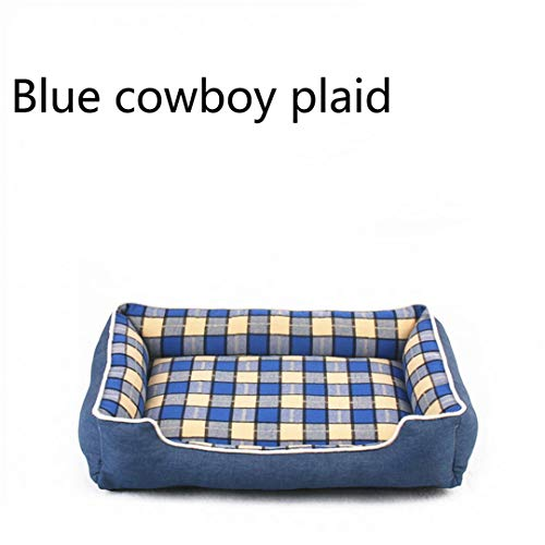 AIgouda Dog Bed Mat Warm Thicken Plaid Pet Mat Cotton Padded Travel Removable Cushion Blue Diameter 50cm