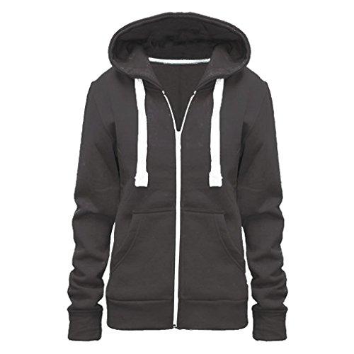 Vainilla Inc© nuevas señoras para mujer chaqueta con capucha para cremallera sudadera con capucha Tallas Top UK tamaño 8–28 gris