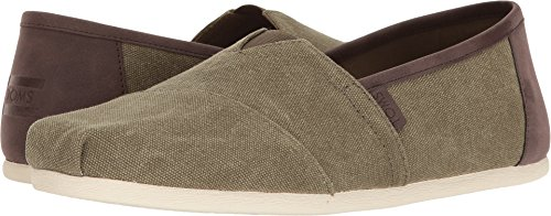 Olive Canvas Footwear - TOMS Men's Classic Slip On (8.5 D(M) US, Olive Washed Canvas/Trim)