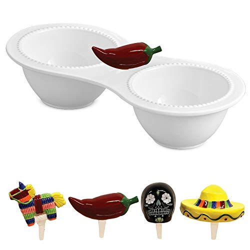 Charmers Serveware Decorative Accents Set Ceramic Charmers Double Bowl Condiment Server Salsa Guacamole Serving Dish