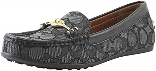 Coach Women's Signature Jacquard Turn-Lock Greenwich Driver Slip-On Loafers Shoes FG1887 (8.5 B, Black/Smoke)