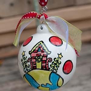 Joy To World Cottage Ball Ornament