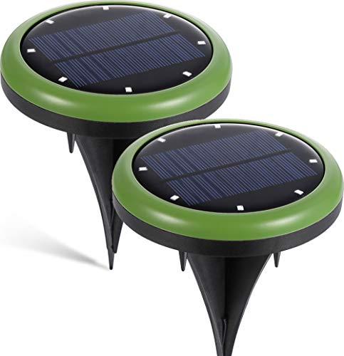 2 Pack Solar Power LED Ground Lights Upgraded Version, Latta Alvor 8 LED Solar Garden Pathway Lights for Outdoor Solar Landscape Path Yard Lights