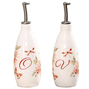 Olive Oil Bottle Set Ceramic Dispenser Porcelain Vinegar Cruet 9oz. with Stainless Steel Leak Proof Pourer Spout for Cooking or Salad Dressing by CEDAR HOME, 2 Pack, Watercolor Floral