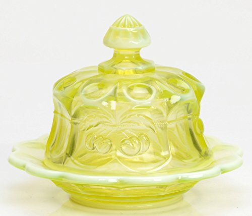 Carnival Glass Dish - Butterdish - Cherry & Cable Pattern Mosser Glass US (Vaseline Opalescent)