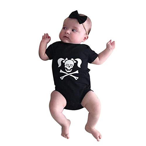 (Baby Boys Girls Skull Print Halloween Costume Long Sleeve Romper Jumpsuit Outfit (6-12 Months,)