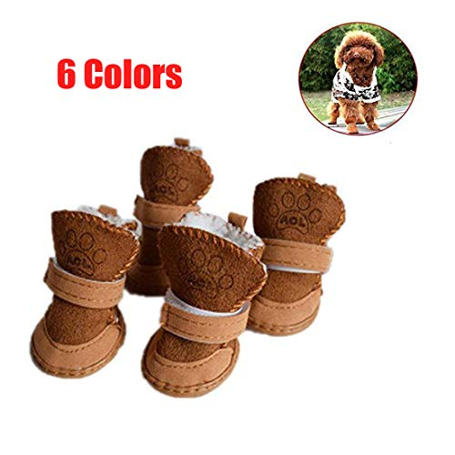 GabeFish Puppy Cute Cozy Warm Anti Slip Winter Boots for Small Medium Dogs Pets Cats Thicken Fleece Snow Shoes Brown X-Large