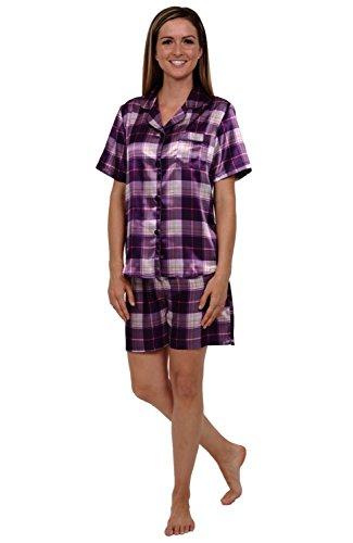 Del Rossa Womens Satin Pajamas, Short Pj Set with Piping