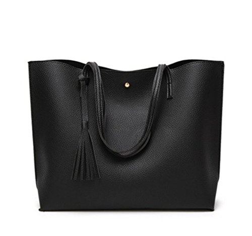Nodykka Women Tote Bags Top Handle Satchel Handbags PU Faux Leather Tassel Shoulder Purse