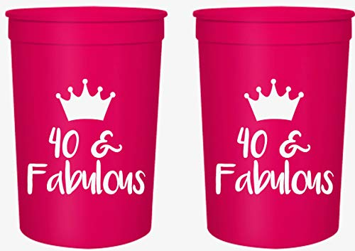 Forty and Fabulous 40th Birthday Party Cups, Set of 12, 16oz Pink and White 40th Birthday Stadium Cups, Perfect for Birthday Parties, Birthday Decorations]()