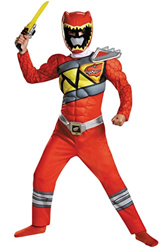 Disguise Red Ranger Dino Charge Classic Muscle Costume, Medium (7-8)