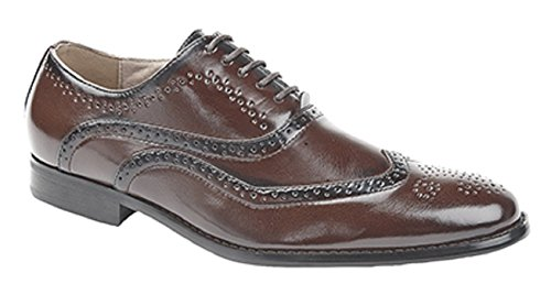 Garçons Chaussures de mariage Marron Brogue Oxford Lace Up Formal Christening (infantile 13 - grand garçon 5.5)