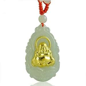 Collar oro 24 K con colgante de Buda sonriente roca de jade genuina (con certificado)