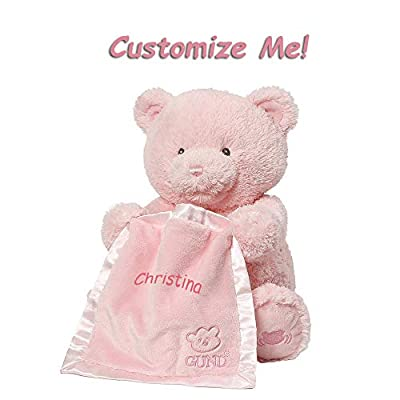 GUND Cute Custom Personalized 11.5 Inches Peek A Boo Baby Teddy Bear Animated Stuffed Animal Plush, Best Cuddle Toy Gift for Family Love Ones - Pink