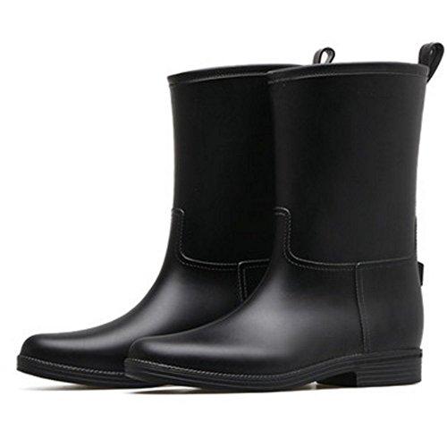 Non Cover Kvinners Cn36 Uk4 Flate Størrelse farge Lange Sort Plast slip Damer Boots Vanntette Sexy Fashion Voksen Eu36 Rain Sko Svart Høy 7R7w6