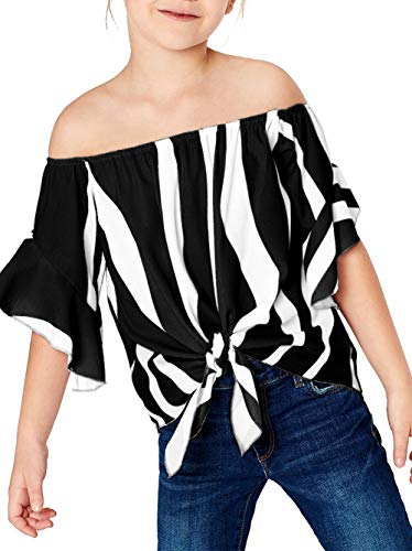 Black Bell Sleeve Top Womens Vertical Stripes Off Shoulder Tie Knot Casual Chiffon Blouse Tops Black XL (10-11)]()