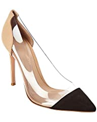 Please note: Size selections are European. For US conversions, please reference size chart.. Made in Italy. Color/material: natural suede and PVC. Design details: PVC detail. Lightly padded leather insole. Smooth leather sole. 4in heel. Pleas...