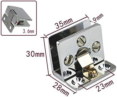 BE-TOOL plateado Bisagra fija de aleaci/ón de zinc para armario de cristal y puerta de cristal