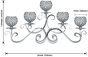 Thaiconsistent 5 Arms Candelabra Home Holiday Decorative Centerpiece Silver Crystal Candle Holders for Wedding Birthday Festival Dining Coffee Table