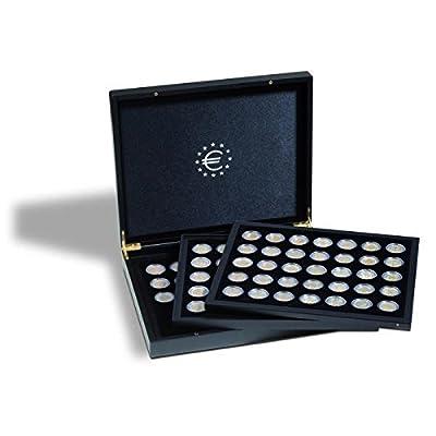 Coffret avec 3 plateaus pour chacun 35 pièces de 2 euros sous capsules, noir