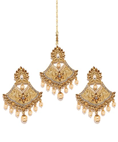 Bindhani Indian Wedding Head Gold Plated Jewelry Maang Tikka Earrings For Women Jewelry & Watches