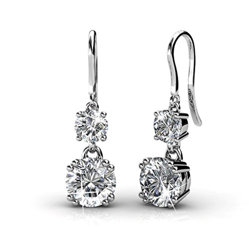 Yellow Chimes Swarovski Elements White Crystal Drop Down Earrings for Girls a…