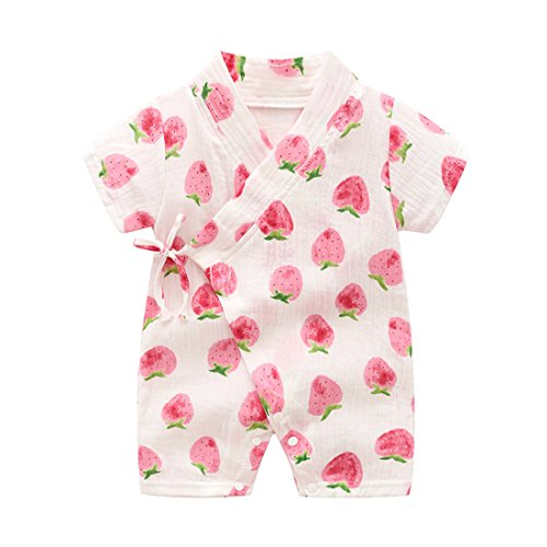 PAUBOLI Kimono Robe Newborn Cotton Yarn Robe Baby Romper Infant Japanese Pajamas (6-12 Months, Strawberry) ()