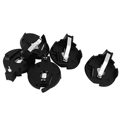 eDealMax CR2016 2025 2032 Moneda botn de la clula soporte de la batera Socket Negro 5 piezas