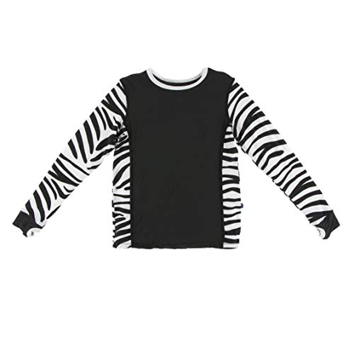(Kickee Pants Print Long Sleeve Fitted Tee with Thumbhole in Natural Zebra Print, XS-5/6)