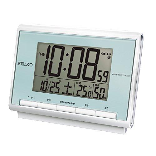 세이코 clock 자명종 전파 디지탈 캘린더 온도 습도 표시박청 펄 SQ698L SEIKO