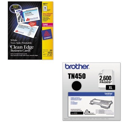 KITAVE5874BRTTN450 - Value Kit - Avery Two-Side Printable Clean Edge Business Cards (AVE5874) and Brother TN450 TN-450 High-Yield Toner (BRTTN450)