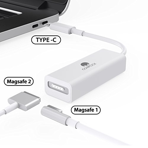 USB C to Magsafe 2 Adapter CONMDEX Type C to Magsafe Magnetic T-Tip/L-Tip Converter USB C to Magsafe 2/1 Connector Compatible New MacBook Pro 13 15(White)