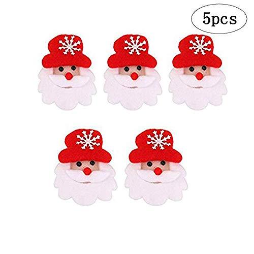 Soochat Christmas Santa Claus LED Brooch Pin Santa Claus Badge Brooch Children Gift Party 5Pcs