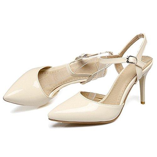 COOLCEPT Mujer Moda Correa de Tobillo Sandalias Tacon de Aguja Cerrado Slingback Zapatos Tamano Beige