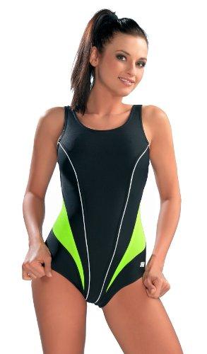 gWinner® Schwimm Wettkampf Badeanzug Schwarz/Grün 36