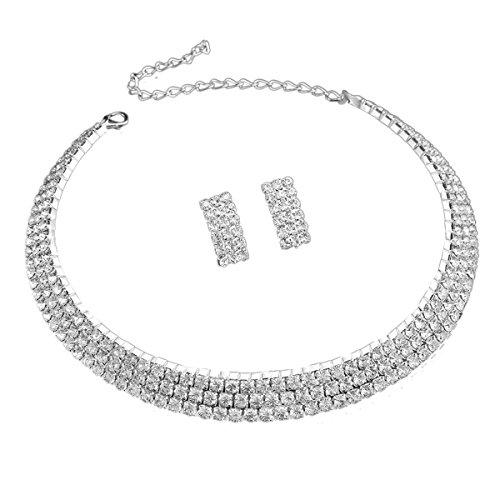 Santfe Crystal Rhinestone Collar Chocker Necklaces Earring Set for Wedding Party (style7) (Party Collar Rhinestone)