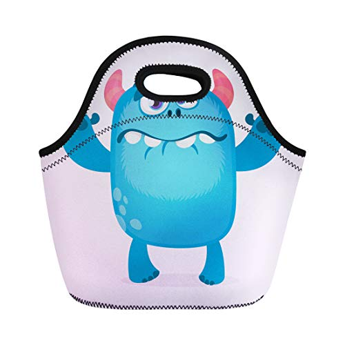 Semtomn Lunch Bags Colorful Cute Furry Blue Monster Bigfoot Troll Character Mascot Neoprene Lunch Bag Lunchbox Tote Bag Portable Picnic Bag Cooler Bag ()