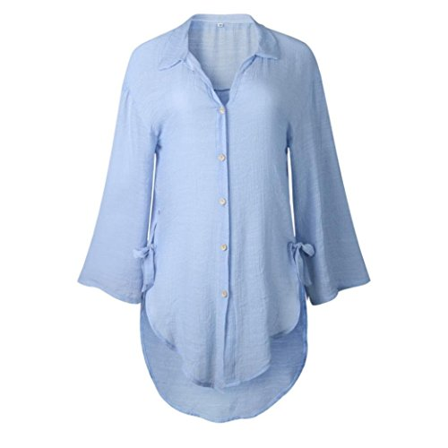 - iQKA Women Loose Button Long Sleeve Shirt Dress Cotton Linen Blouse Casual Solid Top (XXL, Blue)