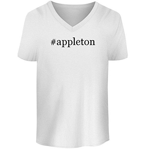 BH Cool Designs #Appleton - Men's V Neck Graphic Tee, White, XX-Large
