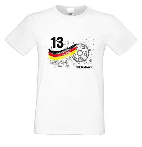 EM Fanshirt T-Shirt - Trikot Germany Deutschland Nummer 13 - Shirt zur Europameisterschaft für Fußball Fans mit Humor