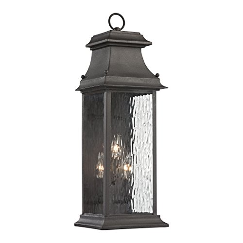 Elk Lighting 47051/3 Forged Provincial Collection 3 Light Outdoor Sconce, Charcoal (8 Provincial Light)