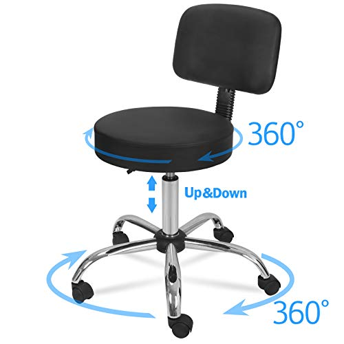 HomGarden Hydraulic Rolling Stool with Backrest, Adjustable Tattoo Medical Massage Salon Stool Swivel Drafting Stool Chair (Large 1pcs)
