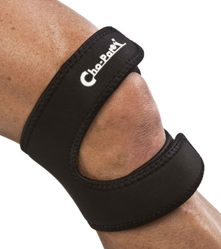 "Cho-Pat Dual Action Knee Strap – Provides Full Mobility & Pain Relief For Weakened Knees – Black (Large, 16""-18"") by Cho-Pat"