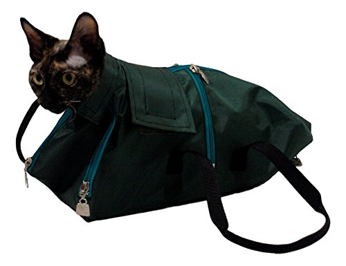 After Surgery Wear Premium Cat Restraint Bag, Cat Grooming Bag, Cat Carrier Bag. Made in Europe Using The Fabrics. (Large)