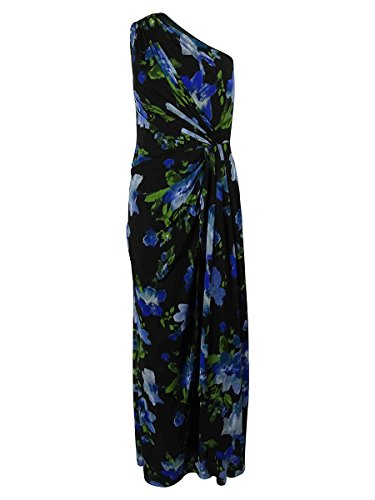RALPH LAUREN Women's One Shoulder Floral Print Gown (12, Black/Multi) Ralph Lauren Wedding
