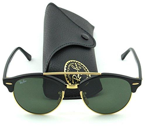 Ray-Ban RB4346 CLUBROUND DOUBLE BRIDGE Unisex Sunglasses (Black Frame/Green Lens 901, - Bridge Double Sunglasses Ban Ray