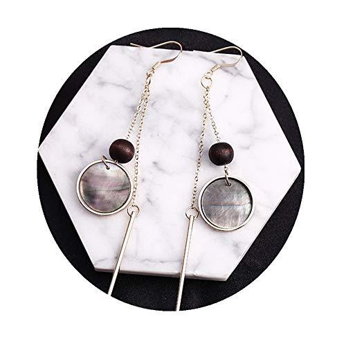 (Girl's Women's Fashion Round Natural Shell Alloy Tassel Drop Earrings)