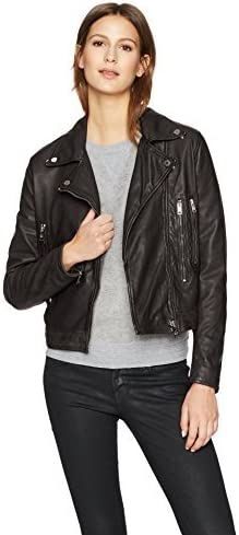 William Rast Womens Leather Washed Bikers Jacket
