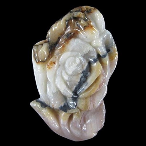Carved Crazy Lace Agate (Morocco) Rose Pendant Focal Bead Gorgeous Natural Gemstone 2.5